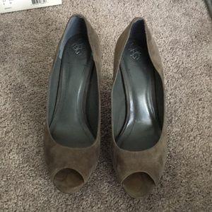BCBG grey suede peep toe heels